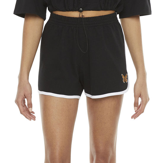 Cut And Paste Embroidered Womens High Rise Pull-On Short-Juniors