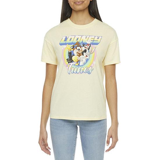 Juniors Womens Crew Neck Short Sleeve Looney Tunes Graphic T-Shirt