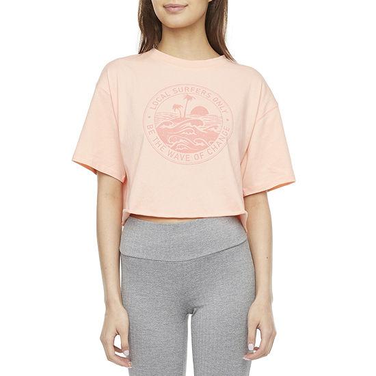 Flirtitude Juniors Womens Crew Neck Short Sleeve Graphic T-Shirt