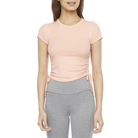 Flirtitude Womens Juniors Crew Neck Short Sleeve T-Shirt