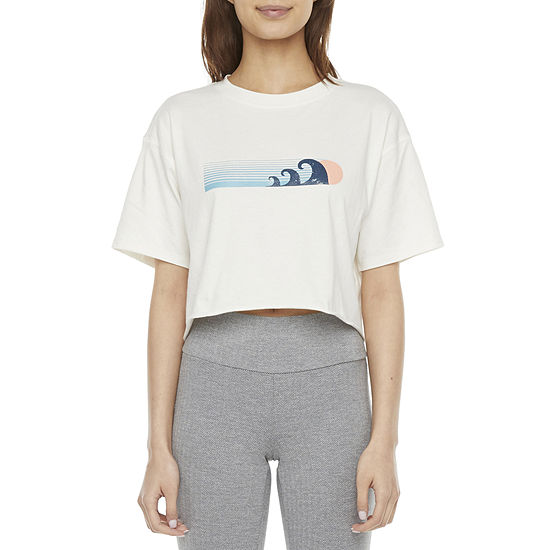 Flirtitude Juniors Womens Crew Neck Short Sleeve Graphic T-Shirt