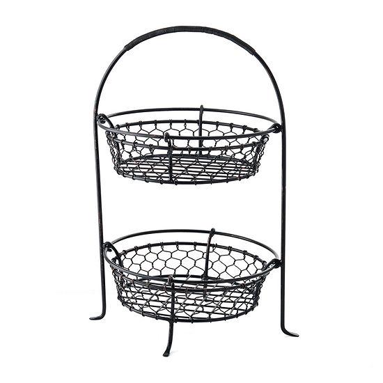 Gourmet Basics by Mikasa Farmer'S Market 2-Tier Round Basket