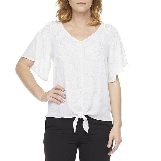 Liz Claiborne Womens V Neck 3/4 Sleeve Blouse