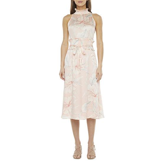 Ryegrass Sleeveless Floral Midi Fit & Flare Dress