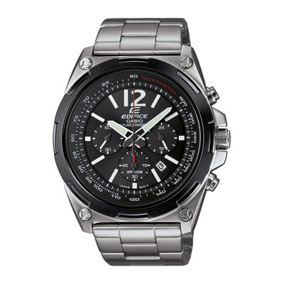 Casio® Edifice Mens Black Dial Black Stainless Steel Solar Watch EFR545SBDB-1B