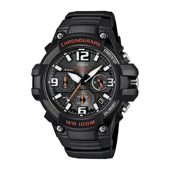 Casio Mens Chronograph Black Strap Watch-Mcw100-1av