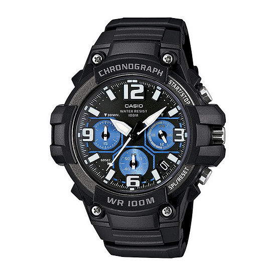 Casio® Mens Black Resin Strap Chronograph Watch MCW100-1A2V