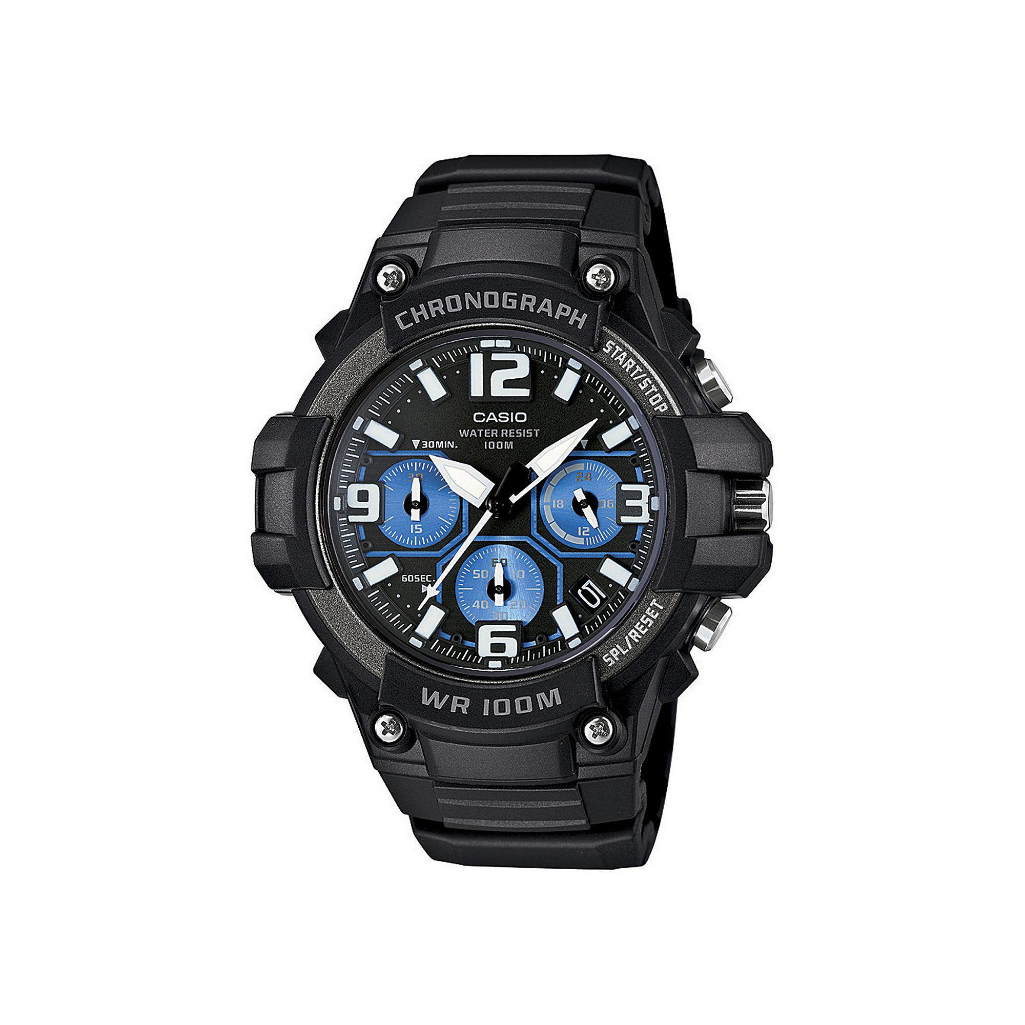 Casio Mens Black Resin Strap Chronograph Watch MCW100-1A2V
