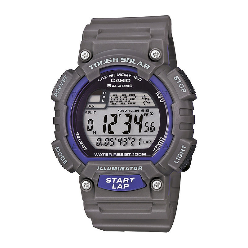 Casio Mens Gray Resin Strap Solar Sport Watch STLS100H-8AV