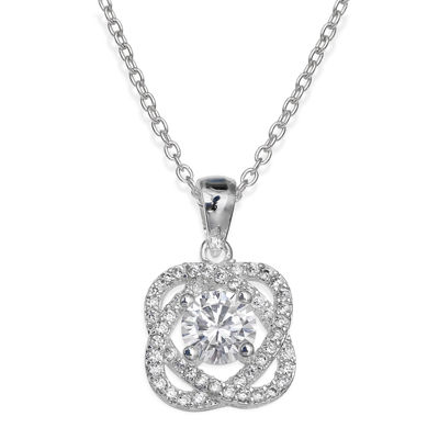 Sparkle Allure™ Cubic Zirconia Silver-Plated Love Knot Pendant Necklace