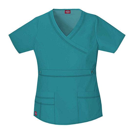 Dickies® Women's 817355 Youtility Mock Wrap Scrub Top–Juniors Plus