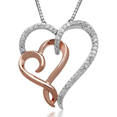 Hallmark Diamonds 1/7 CT. T.W. Diamond Sterling Silver & 14K Rose Gold Pendant
