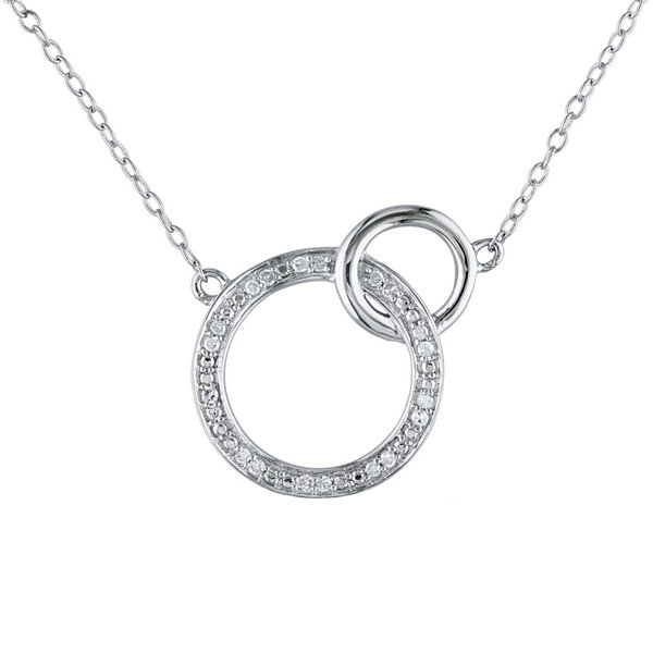 110 ct tw diamond sterling silver double circle pendant necklace tw diamond sterling silver double circle pendant necklace aloadofball Image collections