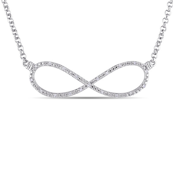1/10 CT. T.W. Diamond Sterling Silver Infinity Pendant Necklace