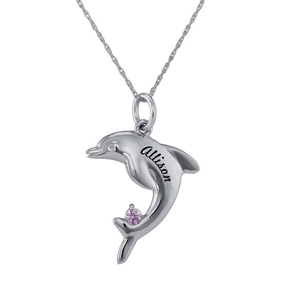 Personalized Girls Engraved Birthstone Dolphin Pendant Necklace