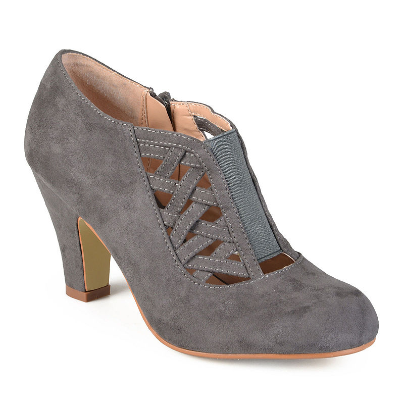 1940s Style Shoes, 40s Shoes Journee Collection Piper Ankle Womens Booties Size 9 Medium Gray $42.49 AT vintagedancer.com
