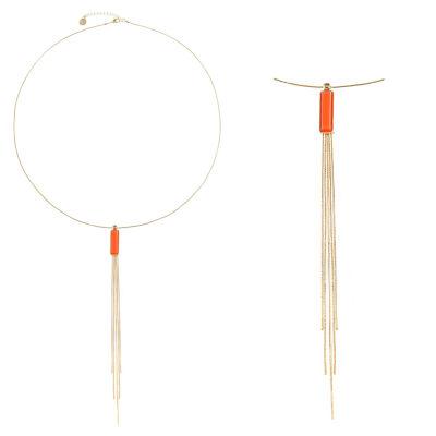Liz Claiborne Womens Orange Rectangular Pendant Necklace
