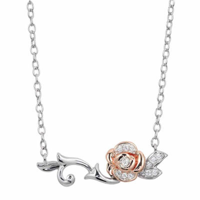 Enchanted Disney Fine Jewelry Womens 1/10 CT. T.W. Genuine White Diamond Sterling Silver Beauty and the Beast Pendant Necklace