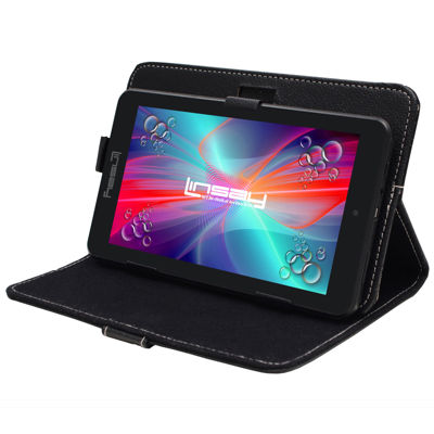 "LINSAY® 7"" HD Quad Core Android 6.0 Tablet 8GB DUAL CAM Bundle with Black Leather Protective Case"