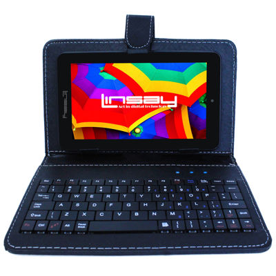"LINSAY® 7"" QUAD CORE 1280x800 IPS Screen 8GB DUAL CAM Tablet Bundle with Black Leather Keyboard Case"