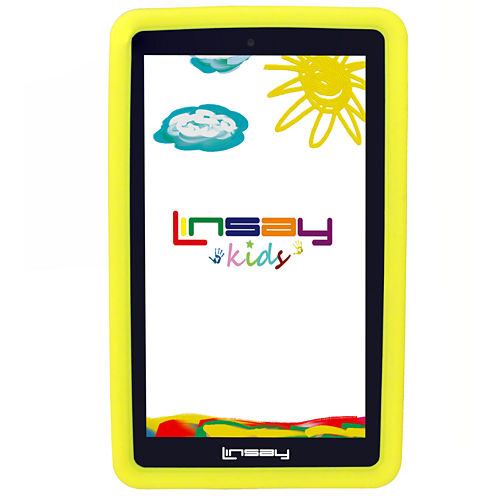 """LINSAY® 7"""" KIDS FUNNY QUAD CORE TAB 1280x800 IPS Screen 8GB DUAL CAM with Yellow Kids Defender Protective Case"""