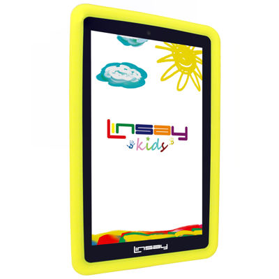 "LINSAY® 7"" KIDS FUNNY QUAD CORE TAB 8GB DUAL CAM ANDROID 6.0 with Yellow Kids Defender Protective Case"