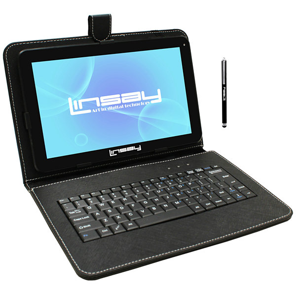 LINSAY® New 10.1'' Quad Core 1024x600HD 16GB Android 6.0 Tablet with Black Leather Keyboard Case and Stylus Pen