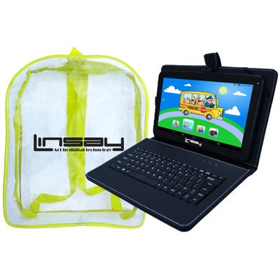 LINSAY® New 10.1'' Quad Core 1024x600HD 16GB Android Tablet with Black Leather Keyboard Case and a Kids Bag Pack