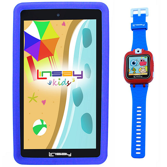 """LINSAY® Kids Bundle with Blue Kids Smartest Watch on Earth with Camera and 7"""" Quad Core Android 6.0 Kids Tablet with Blue Kids Defender Case"""