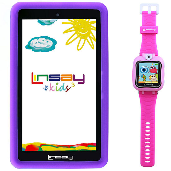 """LINSAY® Kids Bundle with Pink Kids Smartest Watch on Earth with Camera and 7"""" Quad Core Android 6.0 Kids Tablet with Purple Kids Defender Case"""