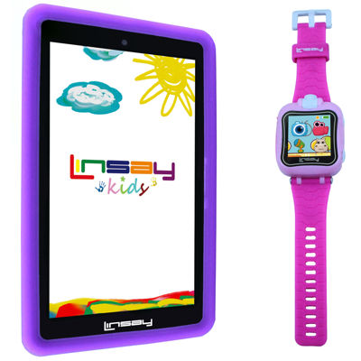 "LINSAY® Kids Bundle with Pink Kids Smartest Watch on Earth with Camera and 7"" Quad Core Android 6.0 Kids Tablet with Purple Kids Defender Case"