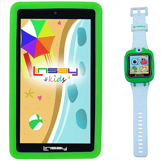 """LINSAY® Kids Bundle with Green Kids Smartest Watch on Earth with Camera and 7"""" Quad Core Android 6.0 Kids Tablet with Green Kids Defender Case"""