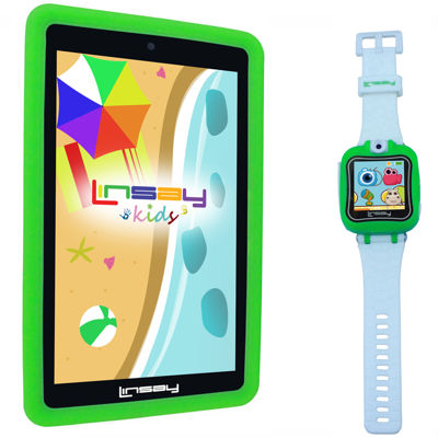"LINSAY® Kids Bundle with Green Kids Smartest Watch on Earth with Camera and 7"" Quad Core Android 6.0 Kids Tablet with Green Kids Defender Case"