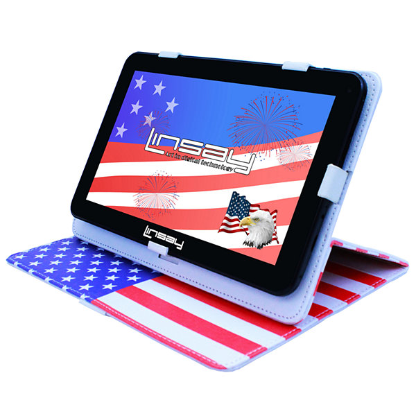 LINSAY® New 10.1'' Quad Core 1024x600HD 16GB Android 6.0 Tablet with USA Style Leather Protective Case