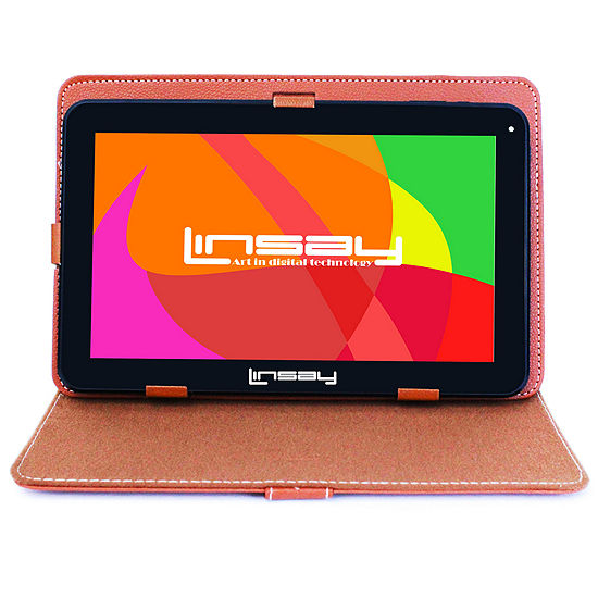 LINSAY® New 10.1'' Quad Core 1024x600HD 16GB Android 6.0 Tablet with Brown Leather Protective Case