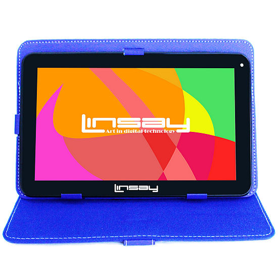 LINSAY® New 10.1'' Quad Core 1024x600HD 16GB Android 6.0 Tablet with Blue Leather Protective Case
