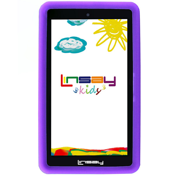 "LINSAY® 7"" KIDS FUNNY QUAD CORE TAB 1280x800 IPS Screen 8GB DUAL CAM with Purple Kids Defender Protective Case"