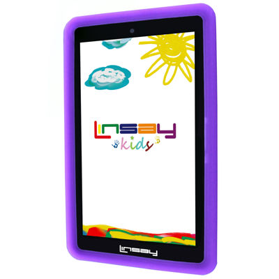 "LINSAY® 7"" KIDS FUNNY QUAD CORE TAB ANDROID 6.0 8GB DUAL CAM with Purple Kids Defender Protective Case"