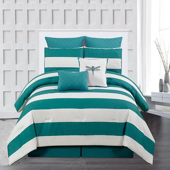 DUCK RIVER 7-pc. Delia Stripe Printed Comforter Set