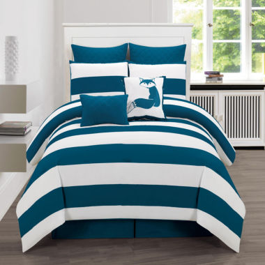 DUCK RIVER 8-pc. Delia Stripe Printed Comforter Set