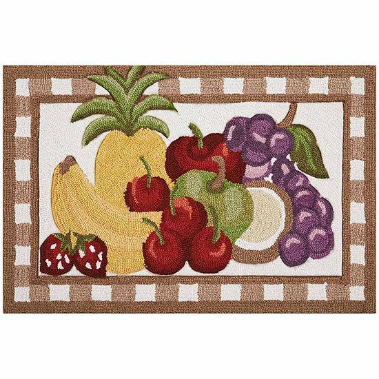 Nourison® Fruit-Print Hand Hooked Rectangular Rug