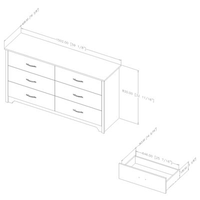 Fusion 6-Drawer Double Dresser
