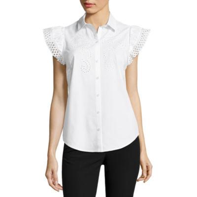 Worthington Short Sleeve Eyelet Button-Front Shirt