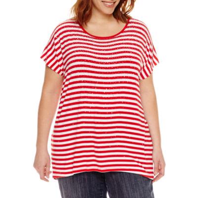 Liz Claiborne Embellished T-Shirt-Plus