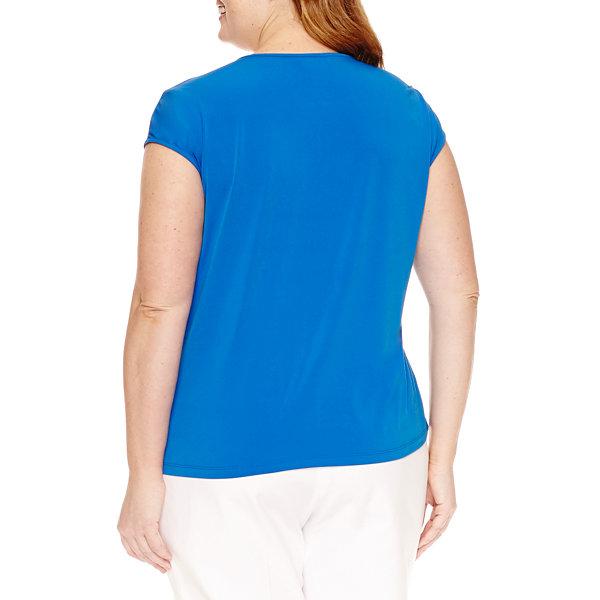 Liz Claiborne Cap Sleeve Tie Front T Shirt Plus Jcpenney