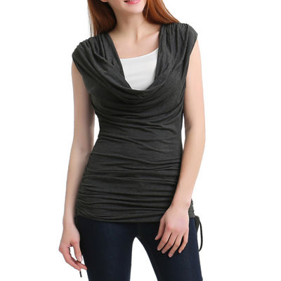 "Phistic Women's ""Baylee"" Cowl Neck Drawstrings Sides Top"