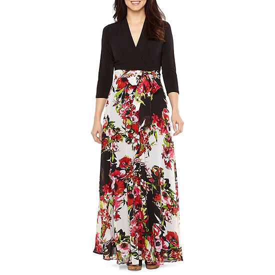 Be by CHETTA B 3/4 Sleeve Floral Maxi Dress