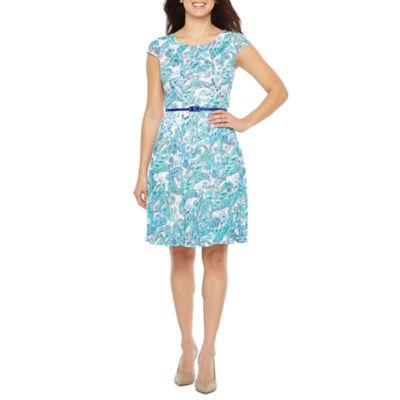 R & K Originals Short Sleeve Floral Lace Fit & Flare Dress