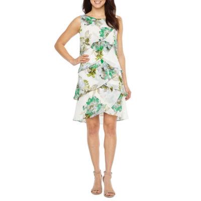 S. L. Fashions Sleeveless Floral Shift Dress