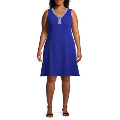 Ronni Nicole Sleeveless V-Neck Embroidered Fit & Flare Dress - Plus